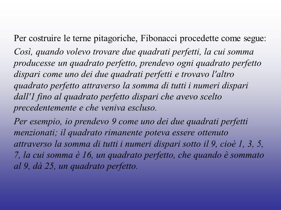 Per costruire le terne pitagoriche, Fibonacci procedette come segue: