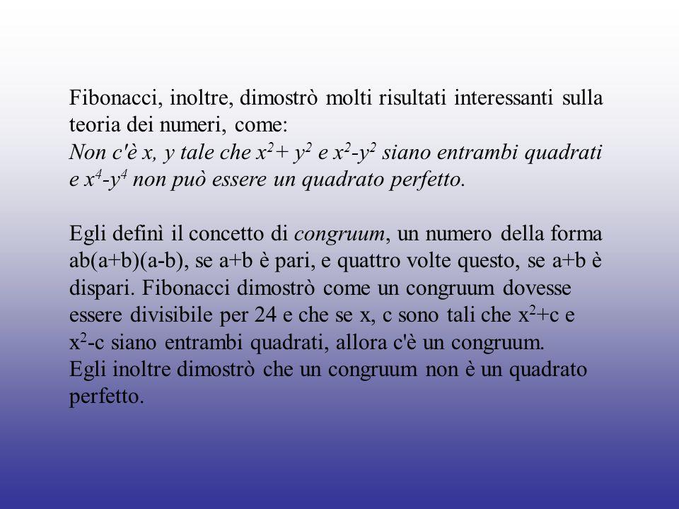 Fibonacci, inoltre, dimostrò molti risultati interessanti sulla teoria dei numeri, come: