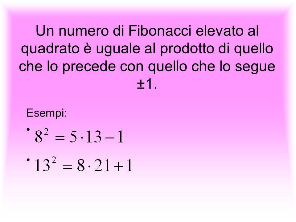 Un numero di Fibonacci elevato al quadrato è uguale al prodotto di quello che lo precede con quello che lo segue ±1.