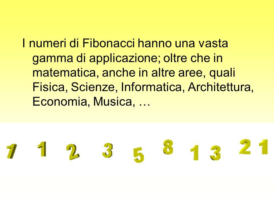 I numeri di Fibonacci hanno una vasta gamma di applicazione; oltre che in matematica, anche in altre aree, quali Fisica, Scienze, Informatica, Architettura, Economia, Musica, …