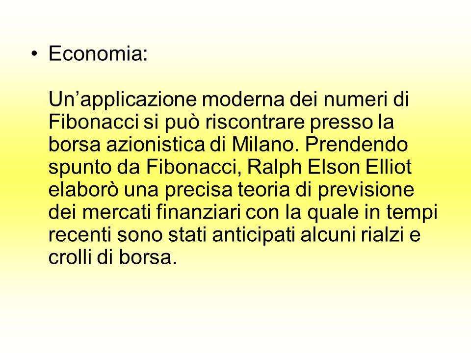 Economia: Un'applicazione moderna dei numeri di Fibonacci si può riscontrare presso la borsa azionistica di Milano.