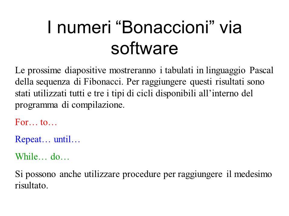 I numeri Bonaccioni via software