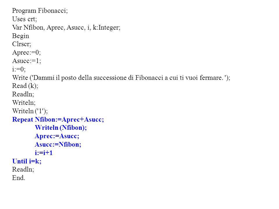 Program Fibonacci;Uses crt; Var Nfibon, Aprec, Asucc, i, k:Integer; Begin. Clrscr; Aprec:=0; Asucc:=1;