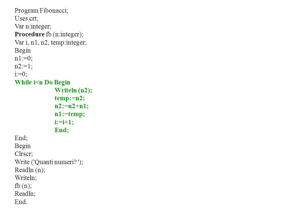 Program Fibonacci;Uses crt; Var n:integer; Procedure fb (n:integer); Var i, n1, n2, temp:integer; Begin.