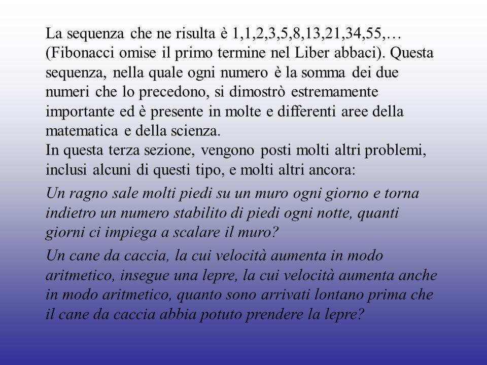 La sequenza che ne risulta è 1,1,2,3,5,8,13,21,34,55,… (Fibonacci omise il primo termine nel Liber abbaci). Questa sequenza, nella quale ogni numero è la somma dei due numeri che lo precedono, si dimostrò estremamente importante ed è presente in molte e differenti aree della matematica e della scienza.