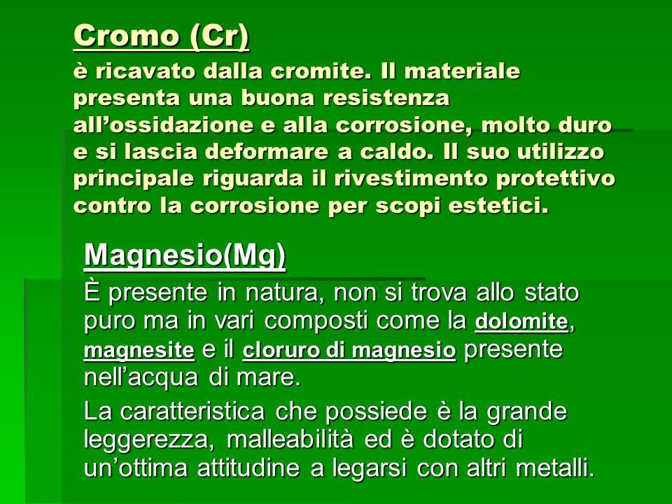 Cromo (Cr) è ricavato dalla cromite