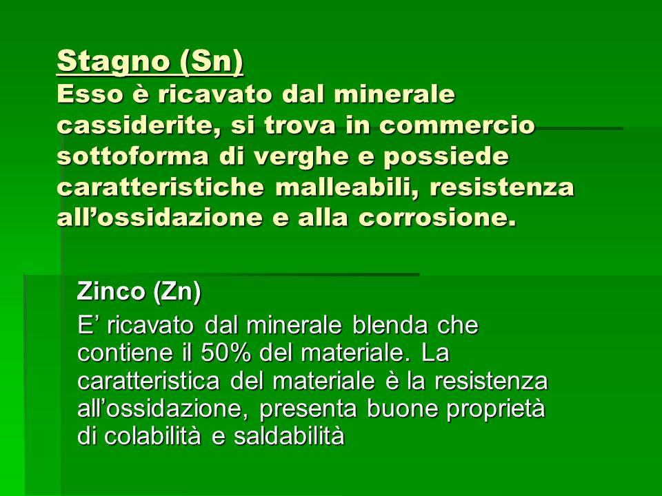 Stagno (Sn) Esso è ricavato dal minerale cassiderite, si trova in commercio sottoforma di verghe e possiede caratteristiche malleabili, resistenza all'ossidazione e alla corrosione.