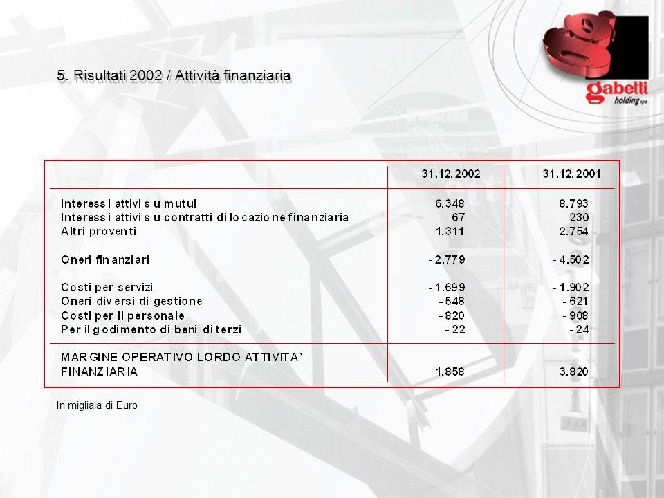 5. Risultati 2002 / Attività finanziaria