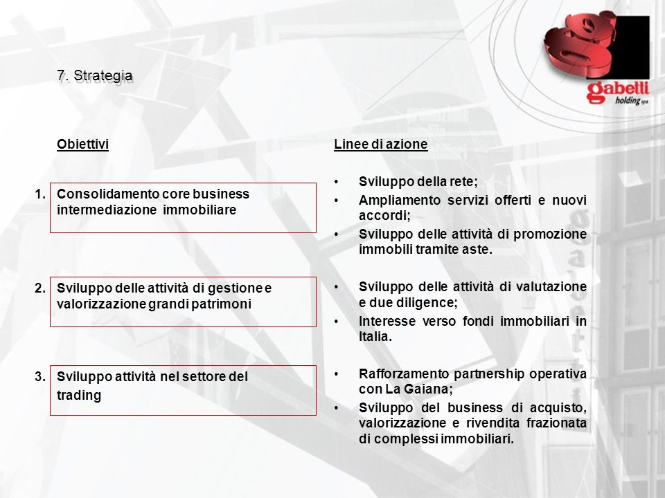 7. Strategia Obiettivi Linee di azione Sviluppo della rete;