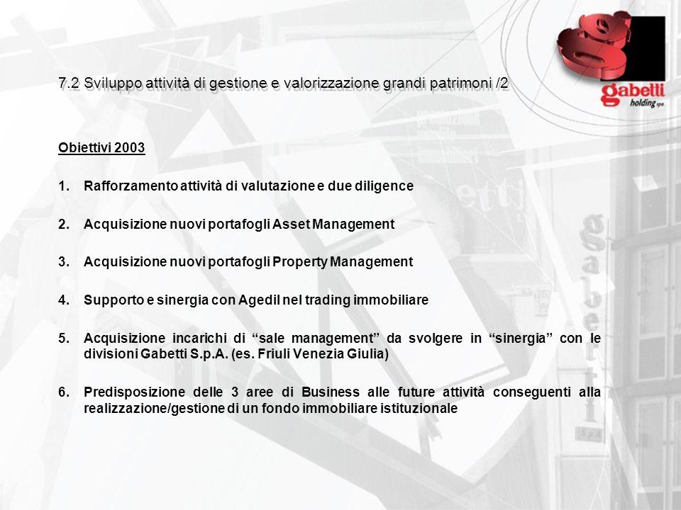 7.2 Sviluppo attività di gestione e valorizzazione grandi patrimoni /2