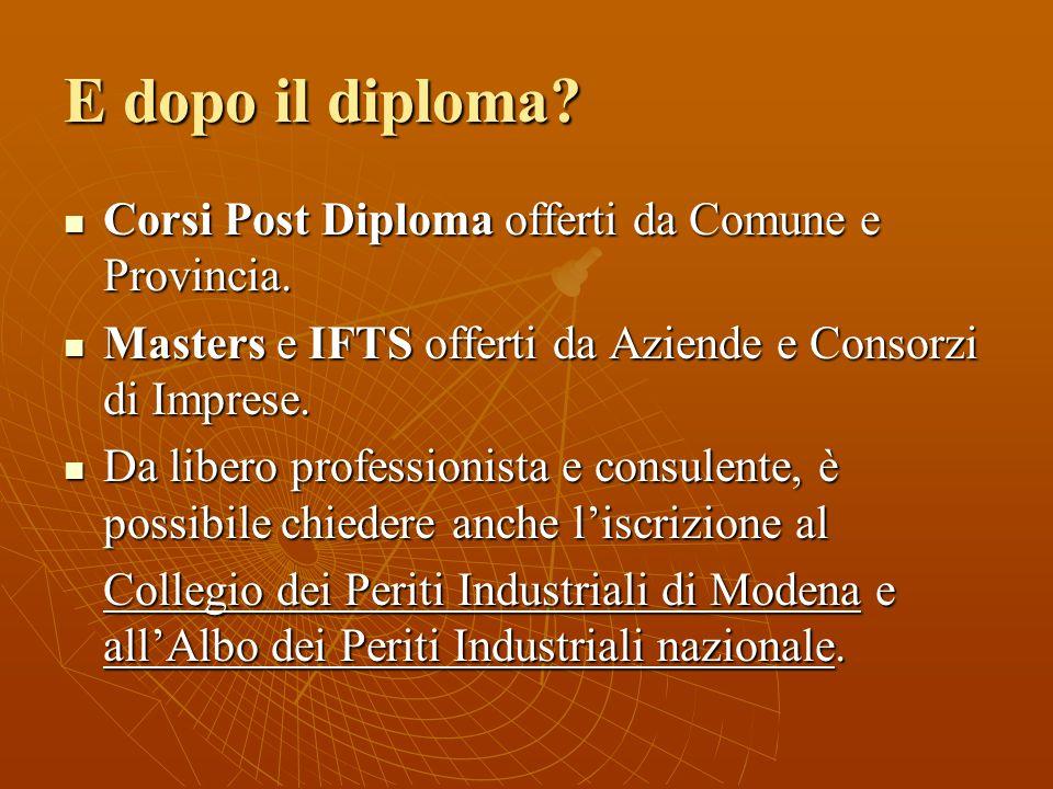 E dopo il diploma Corsi Post Diploma offerti da Comune e Provincia.