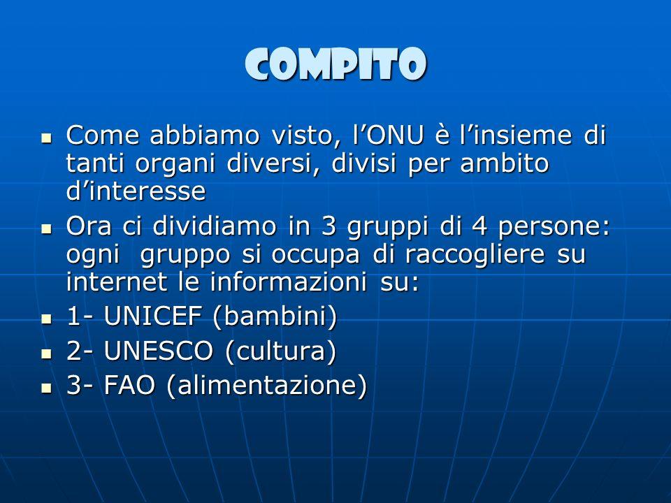 COMPITO Come abbiamo visto, l'ONU è l'insieme di tanti organi diversi, divisi per ambito d'interesse.