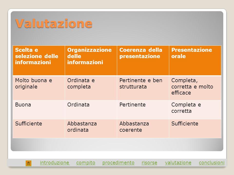 Valutazione Scelta e selezione delle informazioni