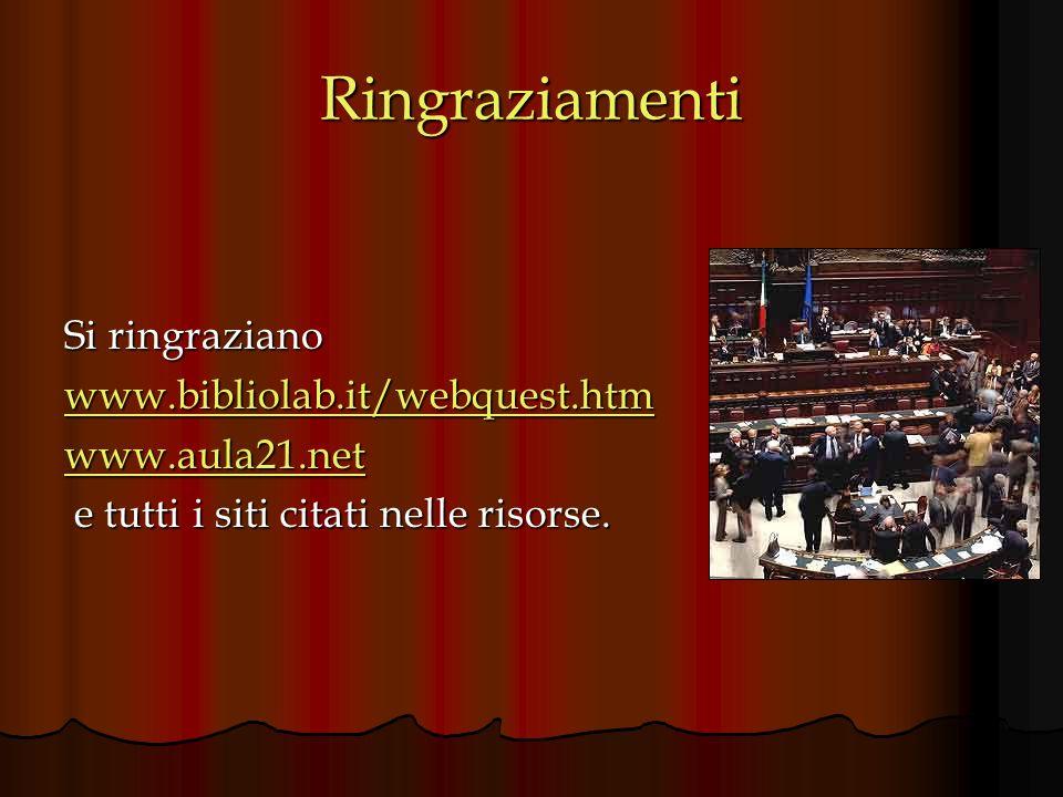 Ringraziamenti Si ringraziano www.bibliolab.it/webquest.htm