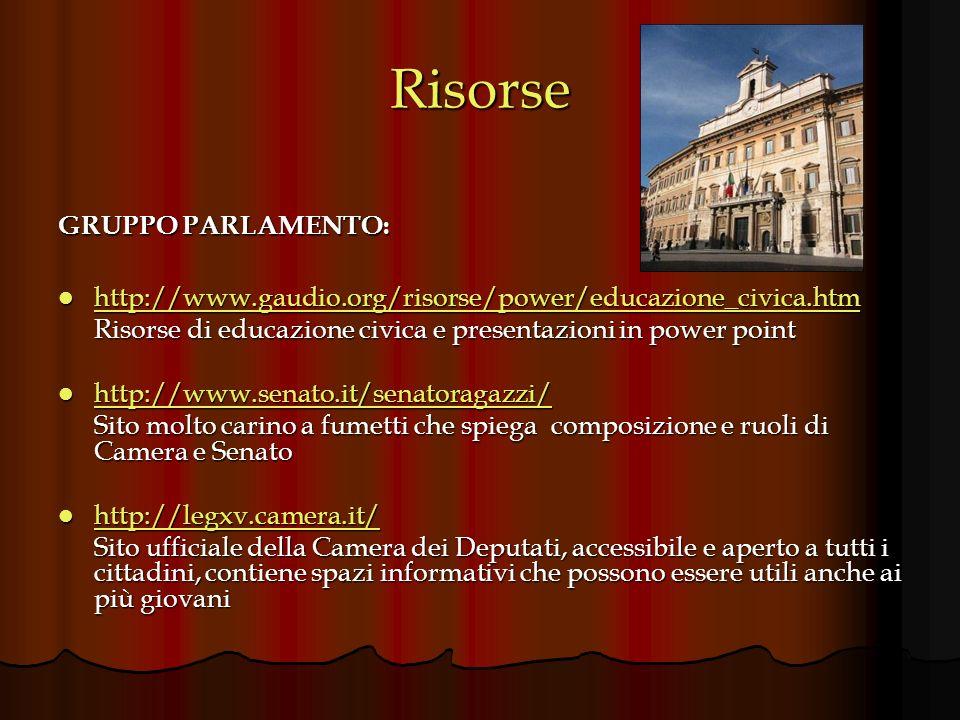 Risorse GRUPPO PARLAMENTO: