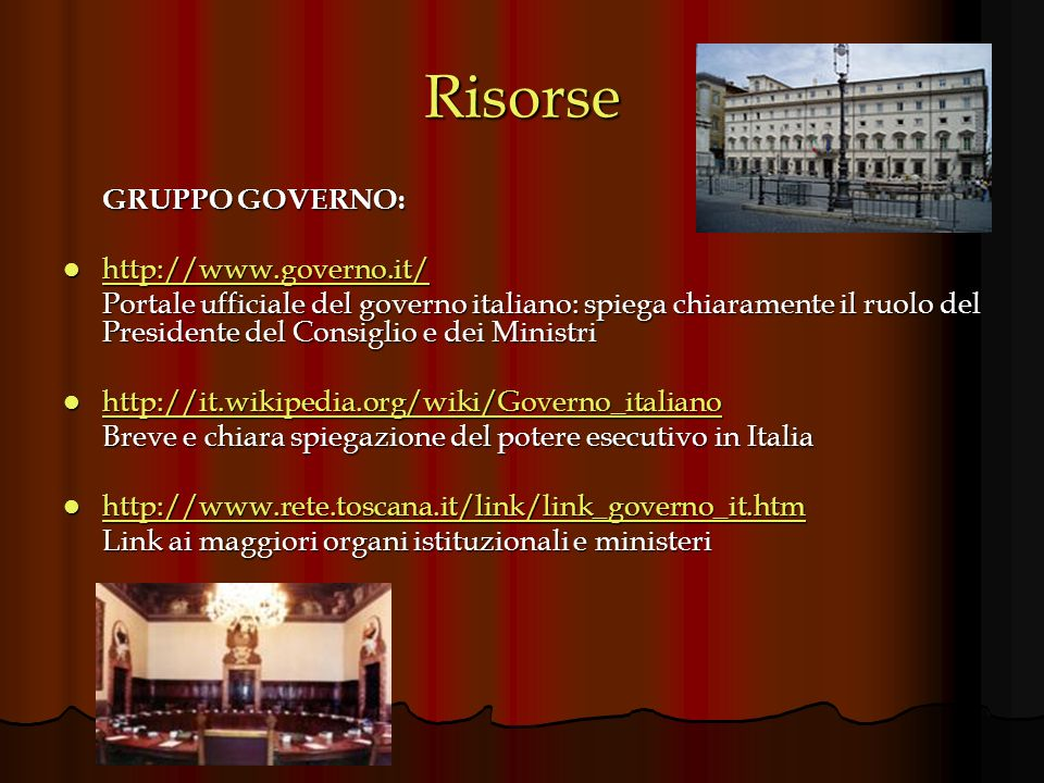 Risorse GRUPPO GOVERNO: http://www.governo.it/
