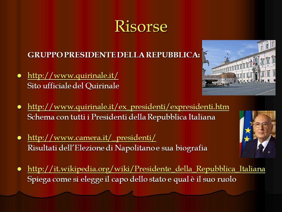 Risorse http://www.quirinale.it/ Sito ufficiale del Quirinale
