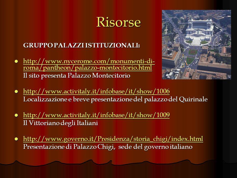 Risorse GRUPPO PALAZZI ISTITUZIONALI: