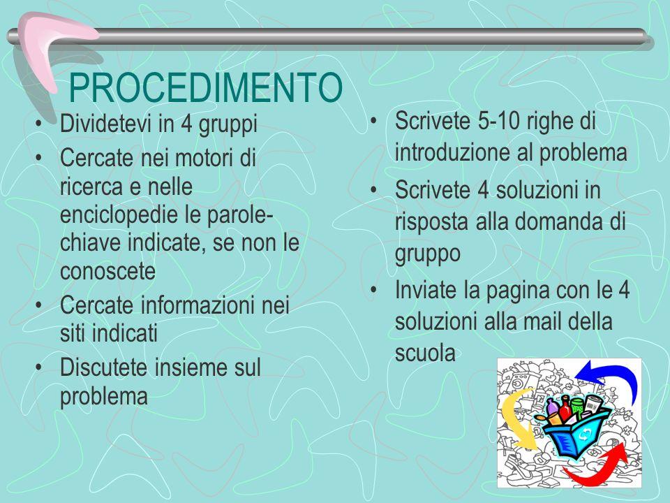 PROCEDIMENTO Scrivete 5-10 righe di introduzione al problema