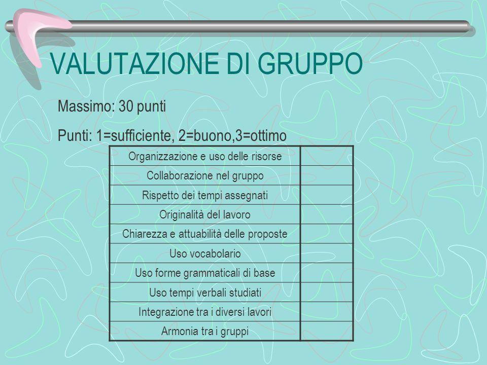 VALUTAZIONE DI GRUPPO Massimo: 30 punti