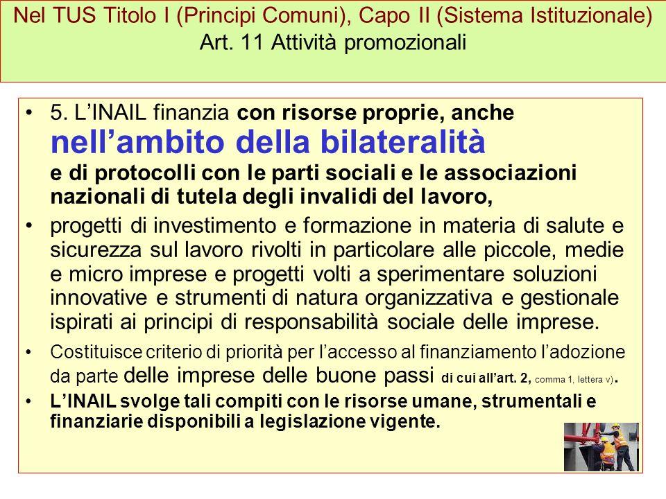Nel TUS Titolo I (Principi Comuni), Capo II (Sistema Istituzionale) Art. 11 Attività promozionali