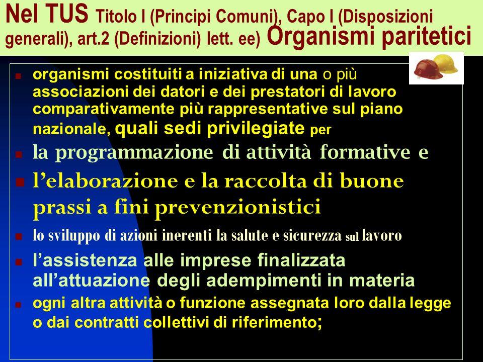 Nel TUS Titolo I (Principi Comuni), Capo I (Disposizioni generali), art.2 (Definizioni) lett. ee) Organismi paritetici