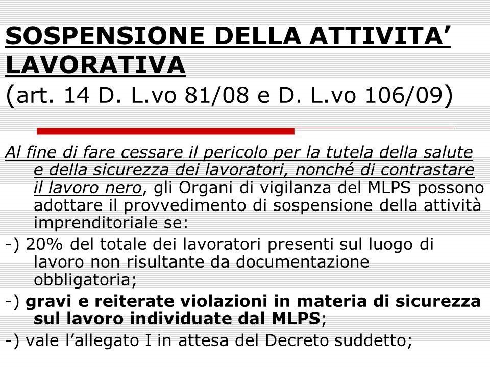 SOSPENSIONE DELLA ATTIVITA' LAVORATIVA (art. 14 D. L. vo 81/08 e D. L