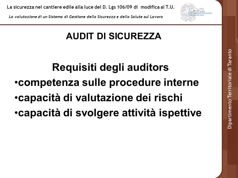 Requisiti degli auditors