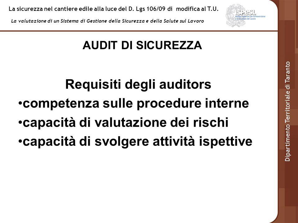 Requisiti degli auditors