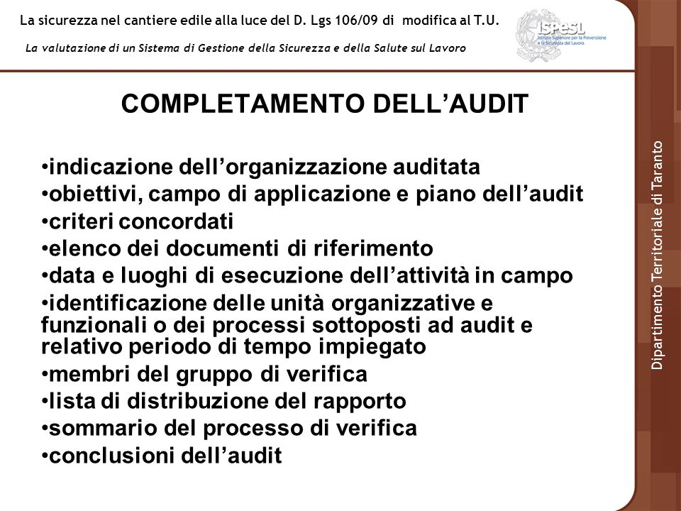 COMPLETAMENTO DELL'AUDIT