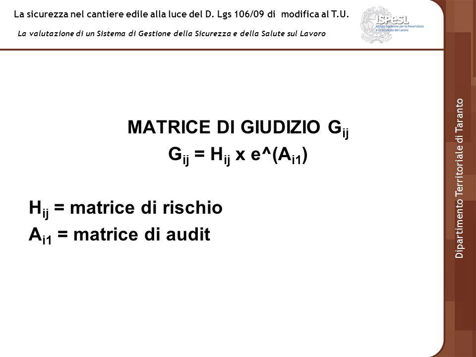 MATRICE DI GIUDIZIO Gij Gij = Hij x e^(Ai1) Hij = matrice di rischio