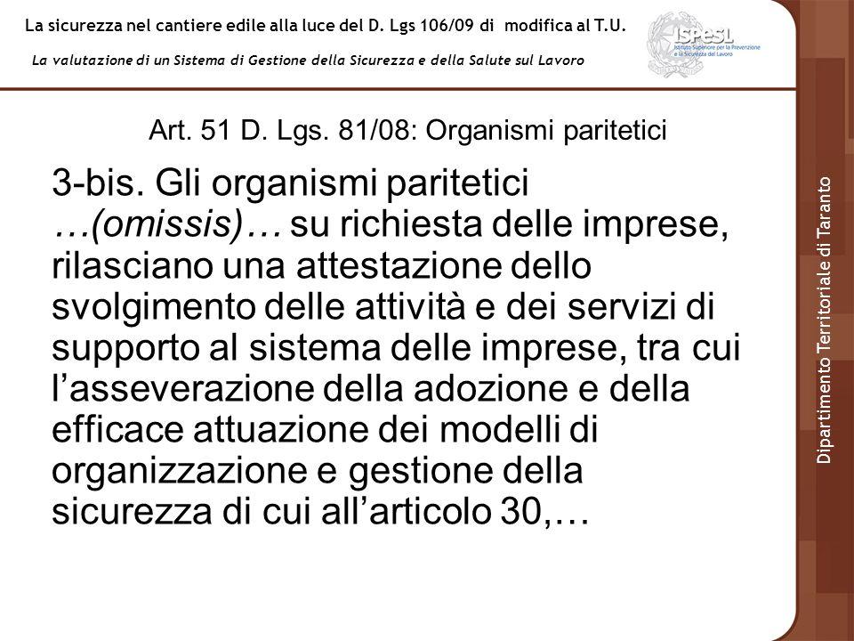 Art. 51 D. Lgs. 81/08: Organismi paritetici