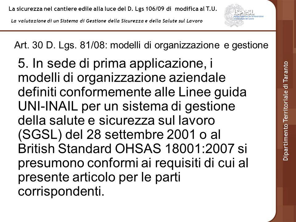 Art. 30 D. Lgs. 81/08: modelli di organizzazione e gestione