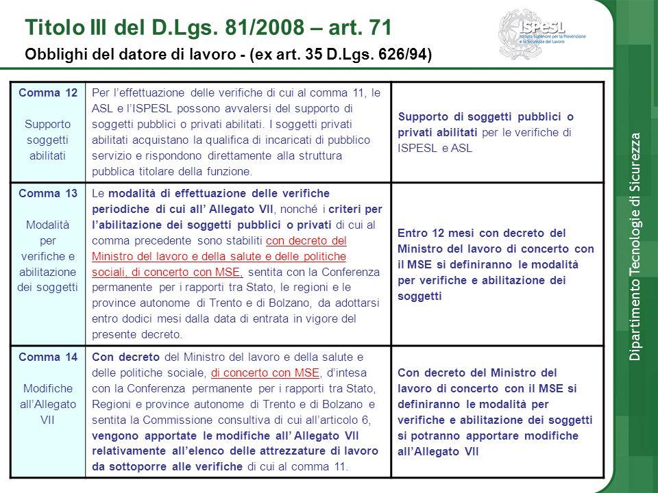 Titolo III del D.Lgs. 81/2008 – art. 71