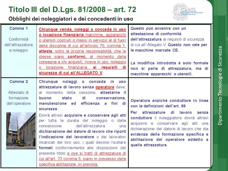 Titolo III del D.Lgs. 81/2008 – art. 72