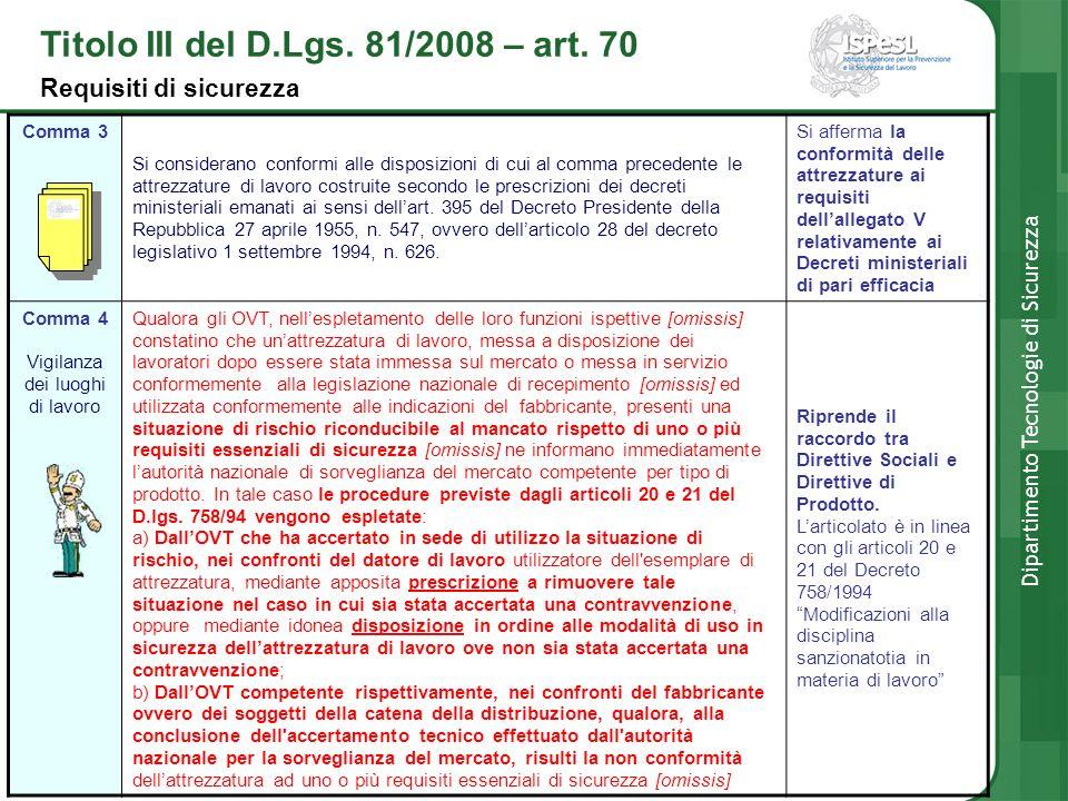 Titolo III del D.Lgs. 81/2008 – art. 70