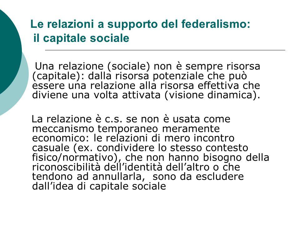 Le relazioni a supporto del federalismo: il capitale sociale