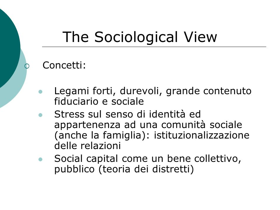 The Sociological View Concetti:
