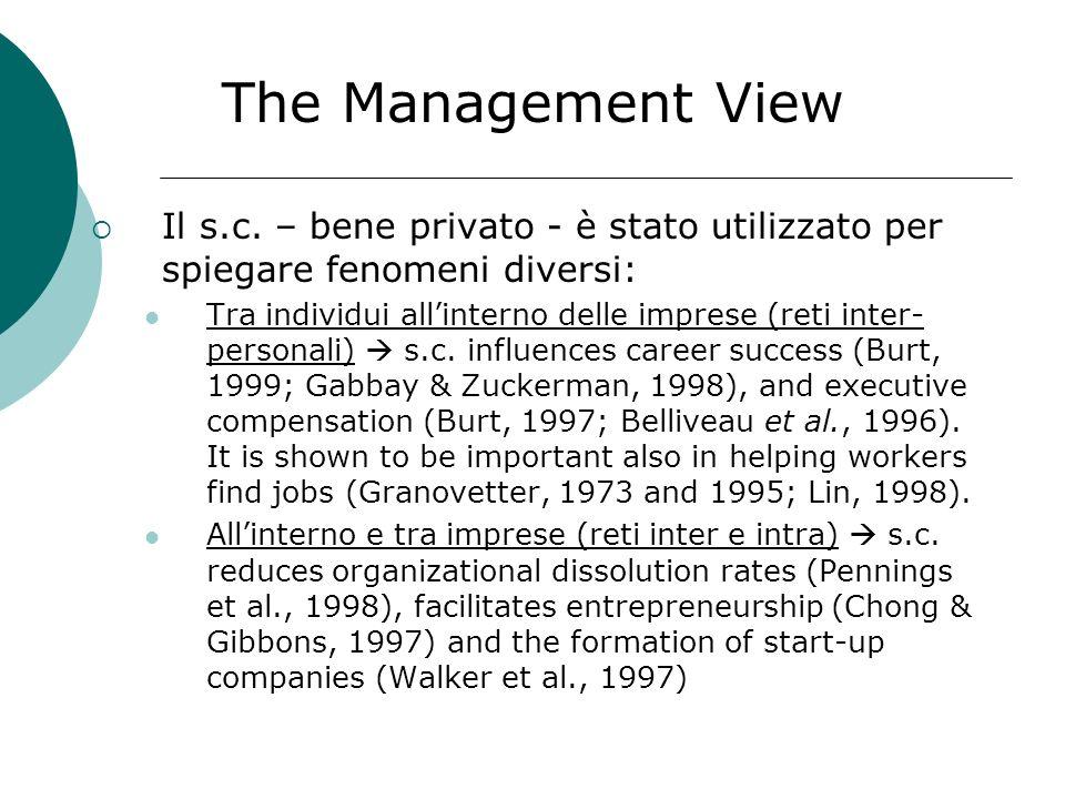 The Management View Il s.c. – bene privato - è stato utilizzato per spiegare fenomeni diversi: