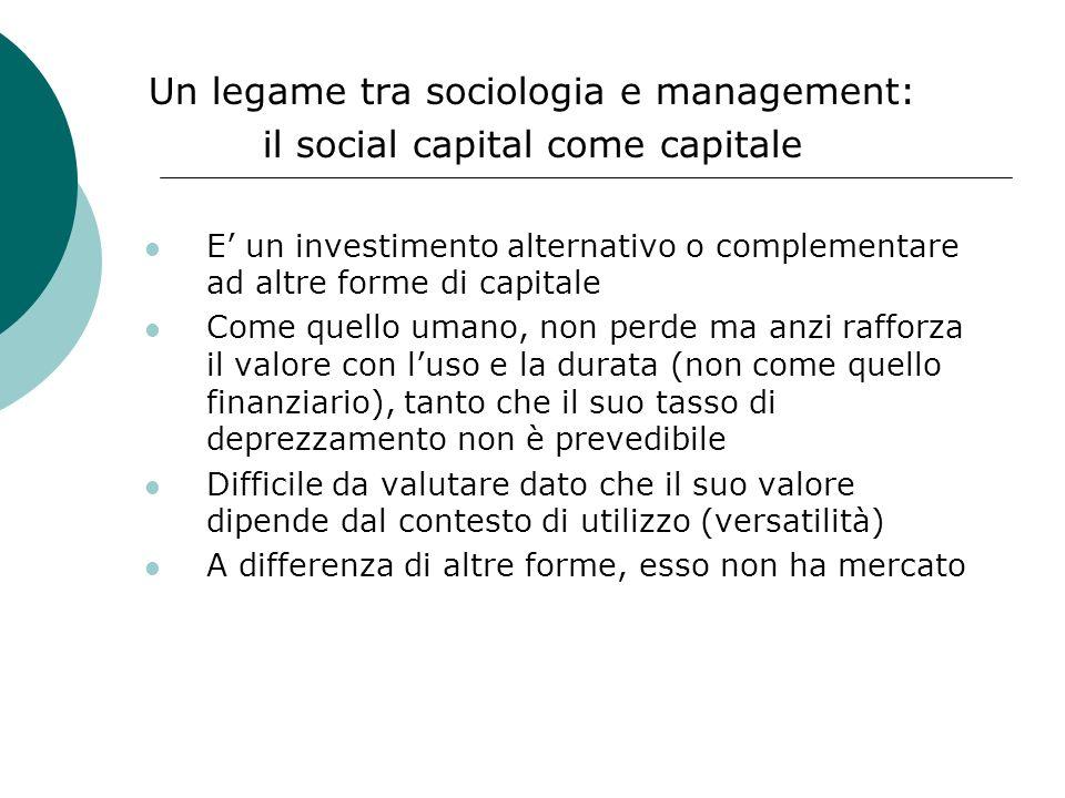 Un legame tra sociologia e management: il social capital come capitale
