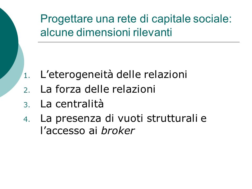 Progettare una rete di capitale sociale: alcune dimensioni rilevanti