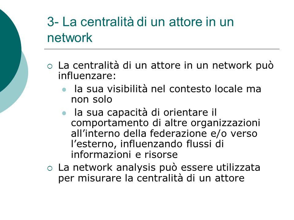 3- La centralità di un attore in un network