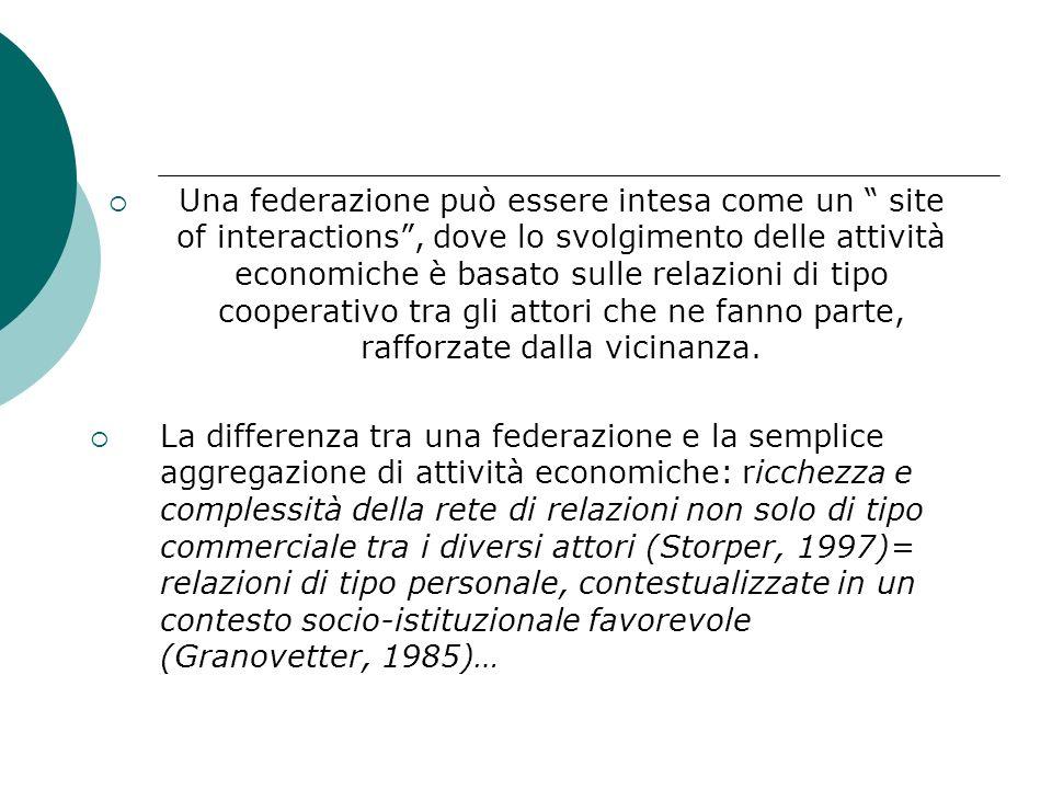 Una federazione può essere intesa come un site of interactions , dove lo svolgimento delle attività economiche è basato sulle relazioni di tipo cooperativo tra gli attori che ne fanno parte, rafforzate dalla vicinanza.