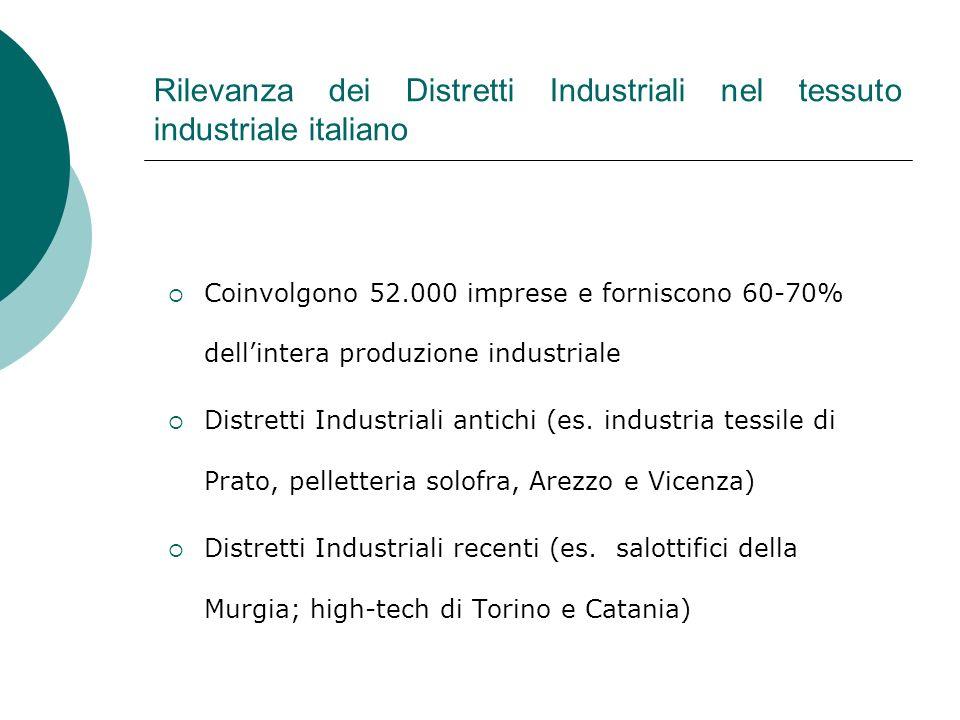 Rilevanza dei Distretti Industriali nel tessuto industriale italiano