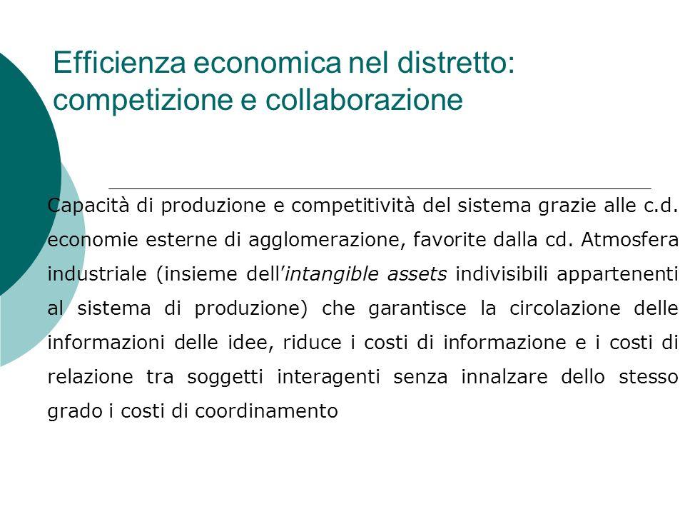 Efficienza economica nel distretto: competizione e collaborazione