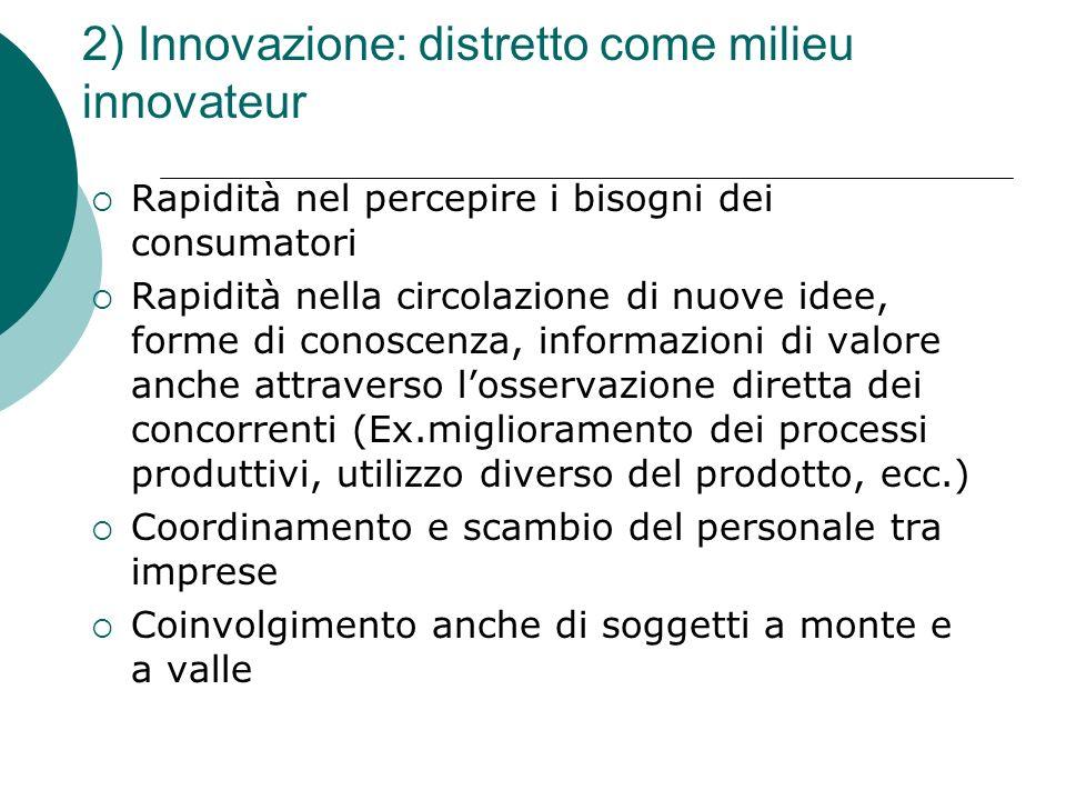 2) Innovazione: distretto come milieu innovateur