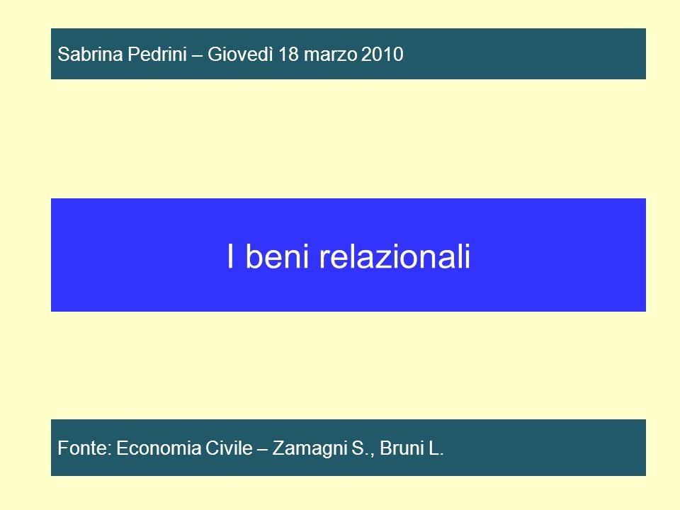 I beni relazionali Sabrina Pedrini – Giovedì 18 marzo 2010