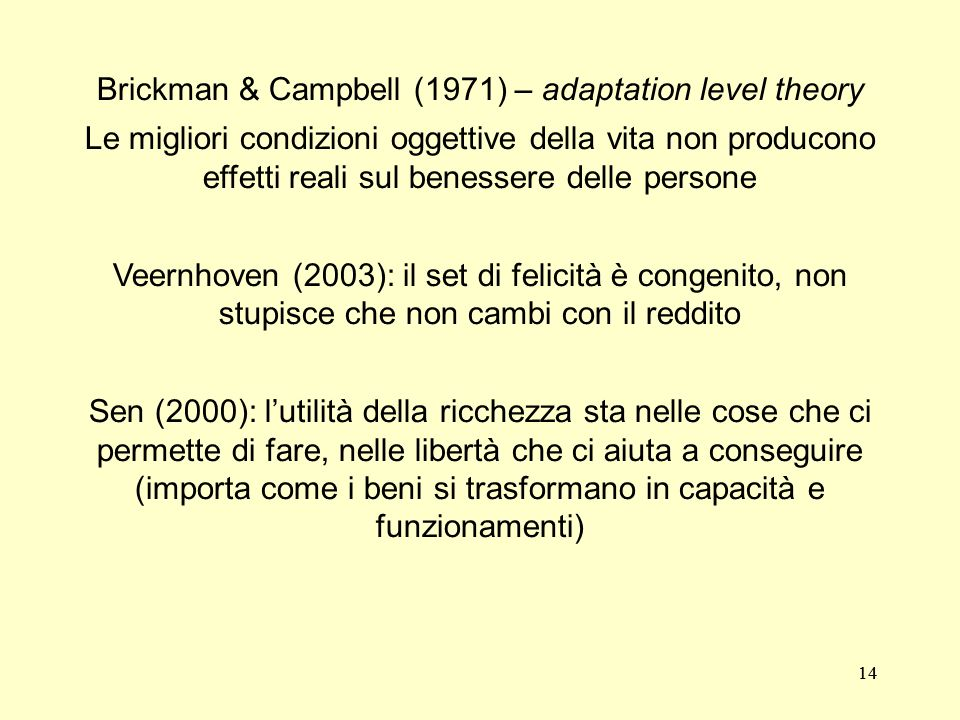 Brickman & Campbell (1971) – adaptation level theory
