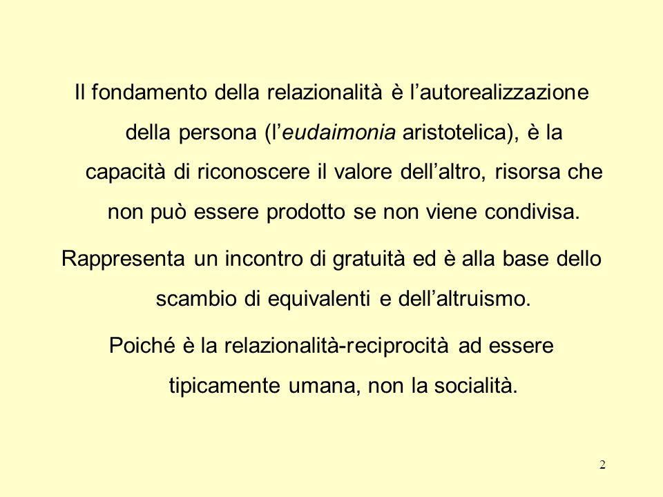 Il fondamento della relazionalità è l'autorealizzazione della persona (l'eudaimonia aristotelica), è la capacità di riconoscere il valore dell'altro, risorsa che non può essere prodotto se non viene condivisa.