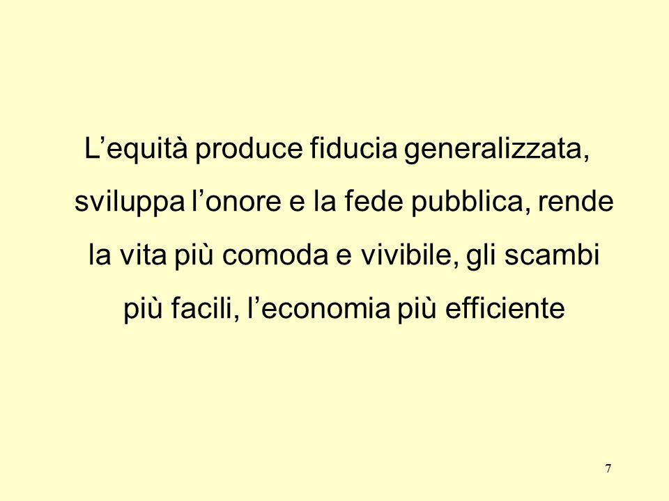 L'equità produce fiducia generalizzata, sviluppa l'onore e la fede pubblica, rende la vita più comoda e vivibile, gli scambi più facili, l'economia più efficiente